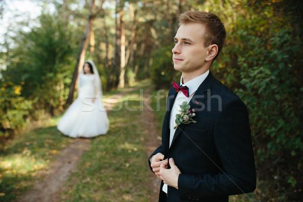 Foto d'archivio: Lo · sposo · attesa · sposa · bella · wedding · Coppia