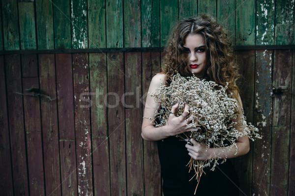 Vintage woman as witch Stock photo © tekso