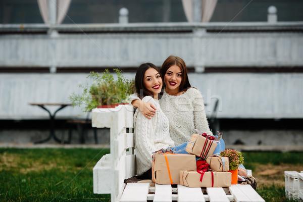 Two beautiful girls sitting on a bench Stock photo © tekso