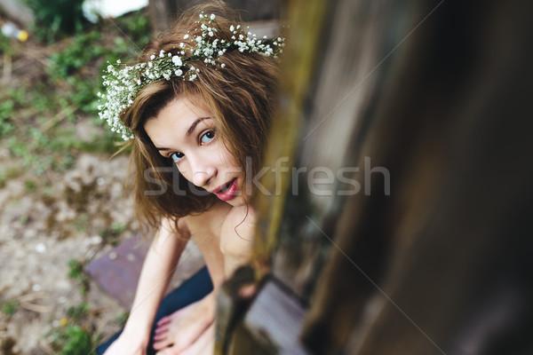 Beautiful girl spying on someone Stock photo © tekso