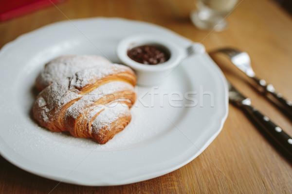 Croissant chocolade bestek liefde mes vork Stockfoto © tekso