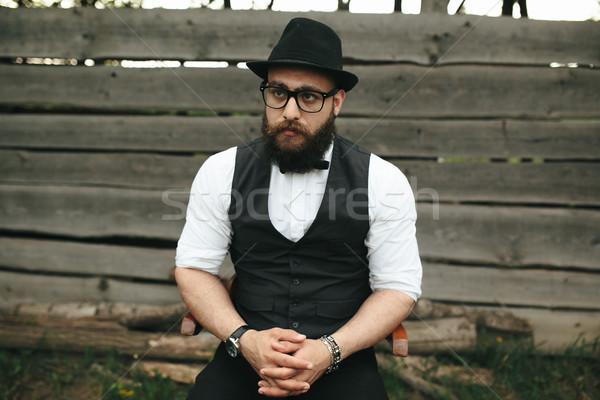 Güçlü adam eski ustura sakallı tıraş Stok fotoğraf © tekso