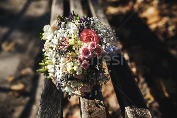 beautiful bridal bouquet lying on a bench Stock photo © tekso