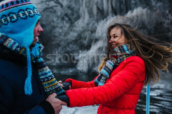 Belo casal pier lago mulher Foto stock © tekso