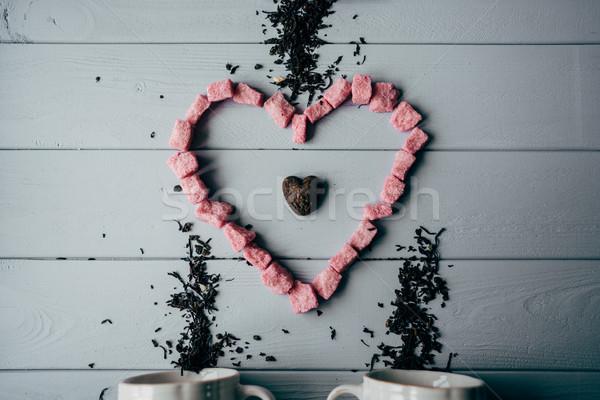 Fehér bögre rózsaszín szív fából készült ital Stock fotó © tekso