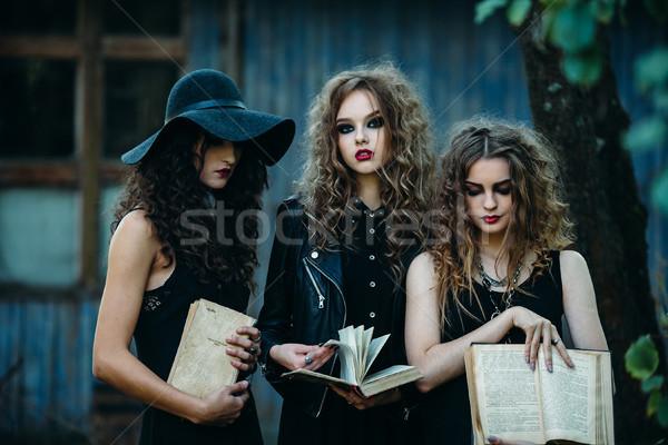 Três vintage mulheres pose abandonado edifício Foto stock © tekso