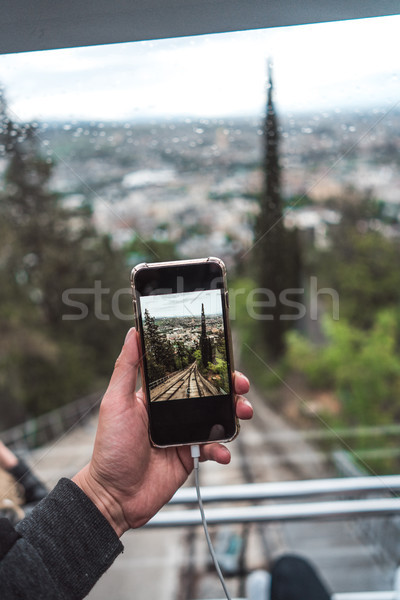 View from funicular on a direct rail, Tbilisi Stock photo © tekso