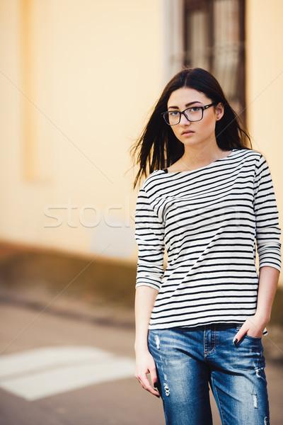 Bella modello strisce maglione città Foto d'archivio © tekso