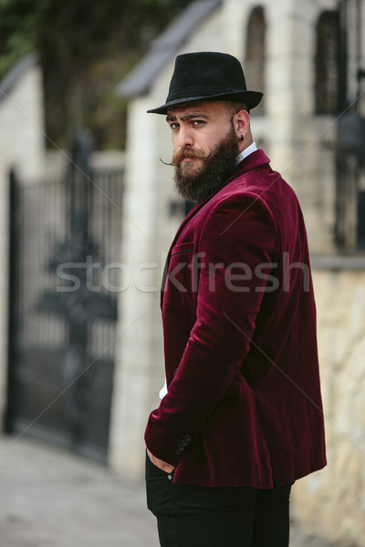 rich man with a beard walk on street Stock photo © tekso