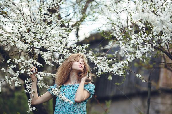Portré gyönyörű lány virágzó fák buja kert Stock fotó © tekso