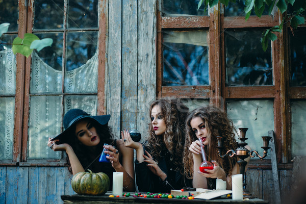 three witches at the table Stock photo © tekso