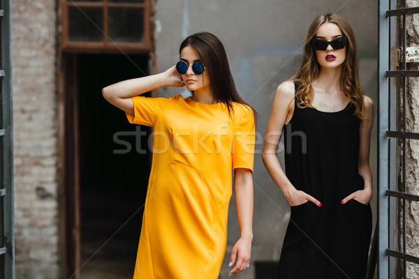 Twee jonge mooie meisjes poseren achtergrond Stockfoto © tekso
