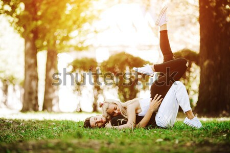 Couple undress in the city Stock photo © tekso