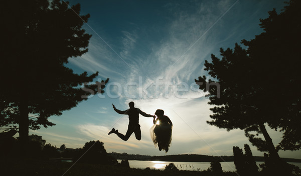 groom and bride jumping against the beautiful sky Stock photo © tekso