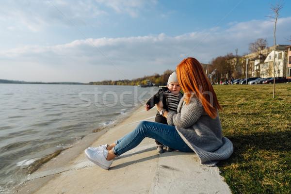 Mother hugging her little son Stock photo © tekso