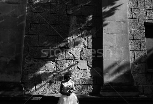 Sposa posa muro di pietra giovani bella famiglia Foto d'archivio © tekso