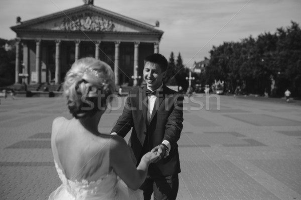 молодые свадьба пару ходьбе семьи Сток-фото © tekso