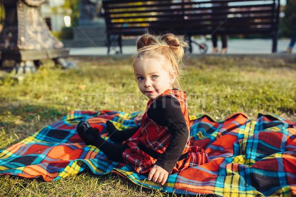 Glimlachend meisje weide naar camera Stockfoto © tekso