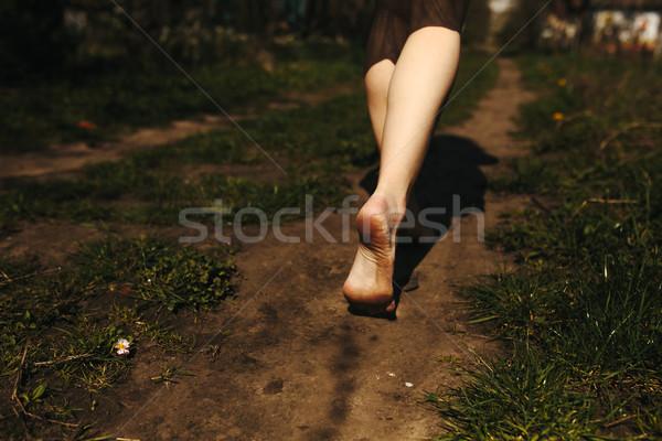 Güzel kız bacaklar bereketli bahçe bahar Stok fotoğraf © tekso