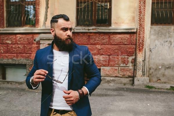 Bebaarde mannen ander stijlvol man oude binnenstad Stockfoto © tekso