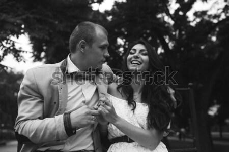 Adam kız park poz kamera sevmek Stok fotoğraf © tekso