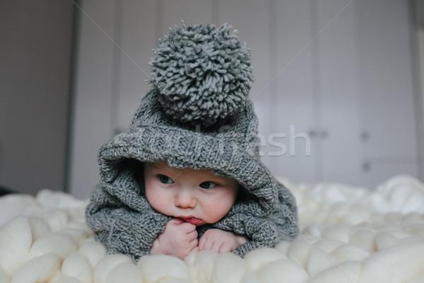 Kicsi baba kötött ruházat kezek fény Stock fotó © tekso