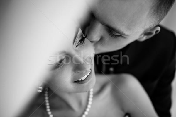 красивой европейский пару номер в отеле невеста Сток-фото © tekso