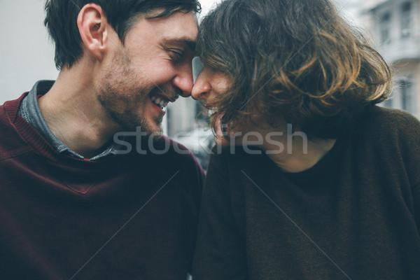 Vintage couple. Coffee shop Stock photo © tekso
