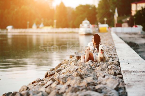 Lány kutya promenád vízpart néz víz Stock fotó © tekso