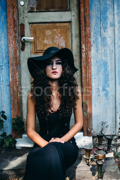 Vintage woman as witch Stock photo © tekso