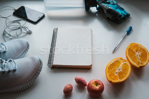 Stock photo: Workout and fitness,Planning control diet concept.