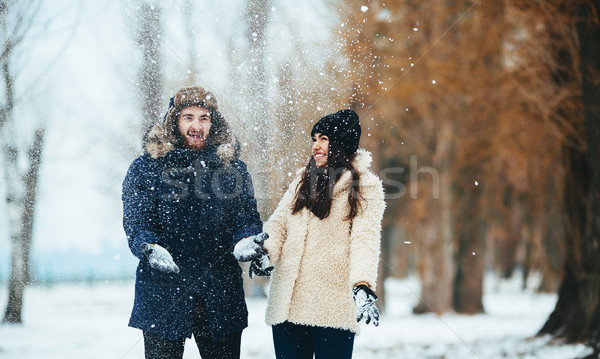 boy and girl playing with snow Stock photo © tekso
