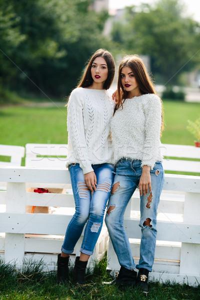 Dois meninas banco branco parque sorrir Foto stock © tekso