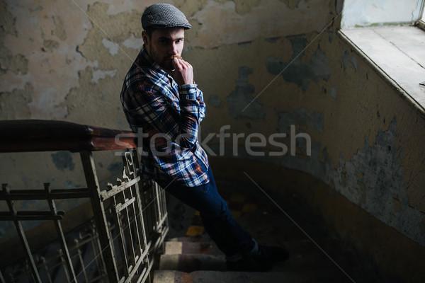 человека позируют джинсов подлинный сапогах здоровья Сток-фото © tekso