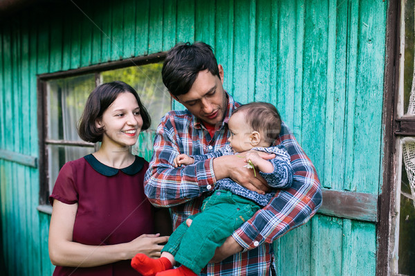 young family with a child on the nature Stock photo © tekso