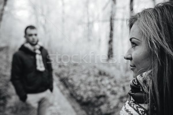 Pár sétál tél park férfi nő Stock fotó © tekso