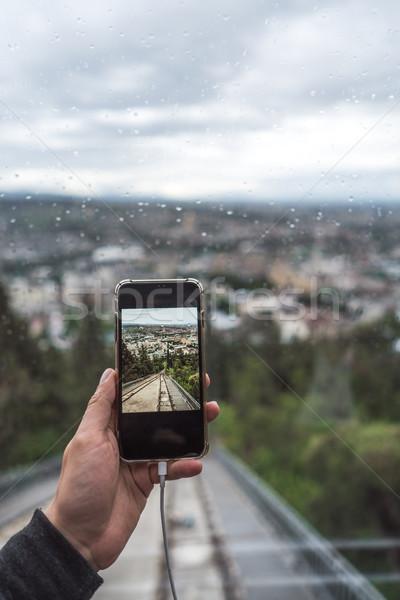Görmek doğrudan ray modern kabin yeşil Stok fotoğraf © tekso