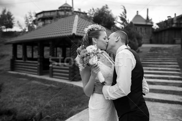 Bella bacio scale famiglia casa Foto d'archivio © tekso