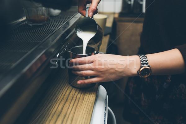 man prepares coffee Stock photo © tekso
