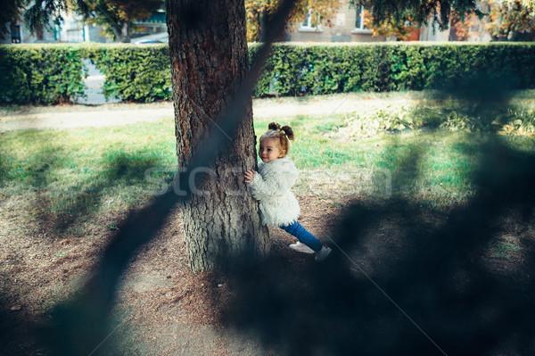 Cute девочку играет улице Сток-фото © tekso