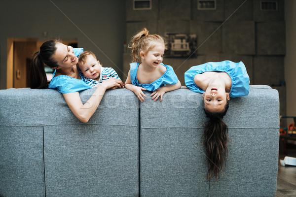 мамы два мало сын диване Сток-фото © tekso