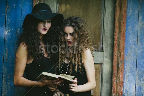 Iki bağbozumu kadın cadı okuma kitap Stok fotoğraf © tekso