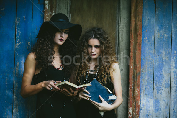 two vintage women as witches Stock photo © tekso