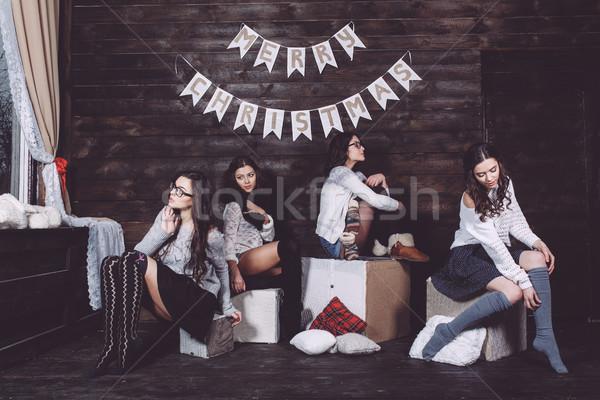 Four charming model posing Stock photo © tekso