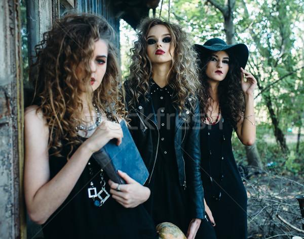 three vintage women as witches Stock photo © tekso