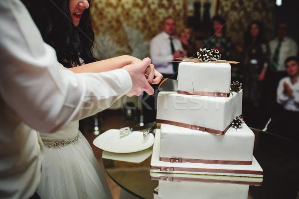 Gelin damat kek düğün pastası düğün Stok fotoğraf © tekso