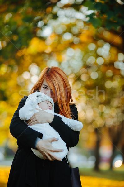 Stockfoto: Moeder · pasgeboren · zoon · najaar · park · poseren
