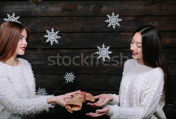 Stock fotó: Kettő · gyönyörű · lányok · együtt · ajándékok · csinos