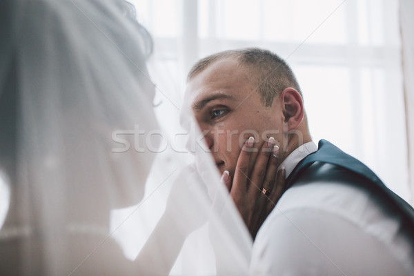 Bruid bruidegom hotelkamer mooie europese Stockfoto © tekso