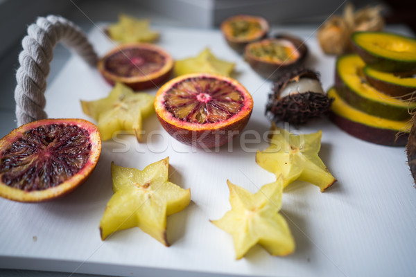 Сток-фото: экзотический · фрукты · плодов · лоток · свет · красный